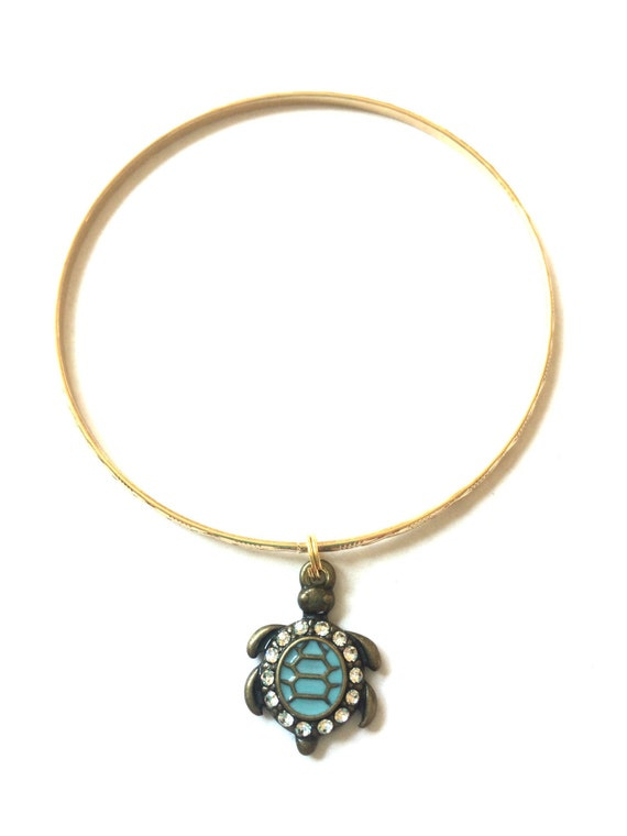 turtle charm bracelet alex and ani inspired gold
