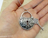 BDSM Discreet Day wear vintage victorian style heart padlock key pendant on Stainless Steel chain submissive babygirl kitten owned hotwife