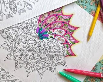 10 Detailed Coloring Sheets - Circular Pattern