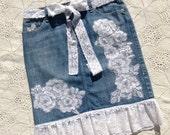 Super powered Embroidered denim skirt