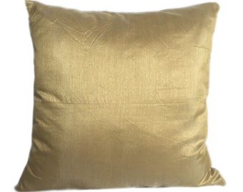 Set of 2 Solid Gold Pillow Covers and Euro Sham Covers Plain Gold Pillow Gold Accent Pillow Gold Pillow Cover Gold Throws Gold Shams Bedding