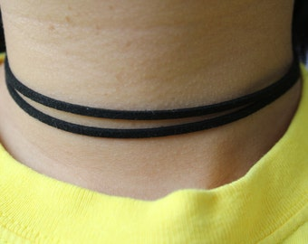 Simple Double Stranded Black Faux Suede Choker Necklace.
