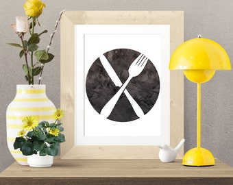 Black and White Fork and Knife -  Wall Art Poster - Printable Poster - Digital Download - 300 DPI - 8 x 10 inches - PDF & JPEG
