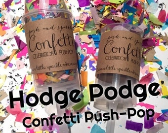 40% OFF SALE!  Set of 10 - Hodge Podge Confetti Celebration Push-Pops