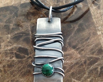 Sterling silver wire wrapped pendant with bezeled malachite