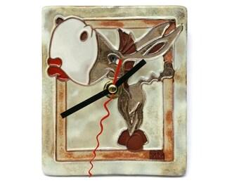 Ceramic Clock Donkey, Ceramic Clock, Pottery Clock, Clay Clock, Wall Clock, Pottery and Ceramic, Art Clock, Wall Hanging, Animals Clock, Art