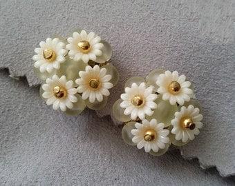 Superb Pretty W. Germany Earrings, Daisy Flower Lucite Clip On Earrings, Vintage 50s Cluster German Earrings, Summer Bridal Earrings