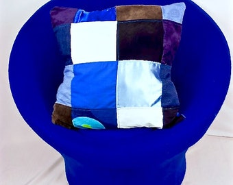 Patchwork Pillow Cover, Upcycled Home Decor, Upcycled Pillow Cover, Envelope Style Pillow Case, Throw Pillow Cover, 18 x 18, Vintage Buttons
