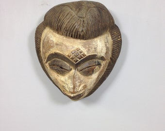 African Mask Punu Female Gabon Africa Handmade Hand Painted Wood Tribal African Female Beauty Mask
