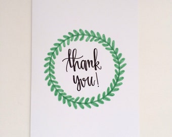Thank You Card - Greeting Card - Thank You with Leaves