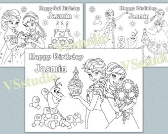personalized frozen birthday party coloring pages activity pdf file - Frozen Fever Coloring Pages