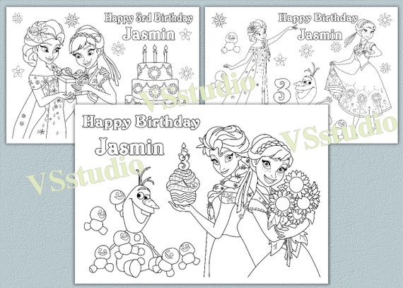 Personalized Frozen Birthday Party Coloring Pages Activity