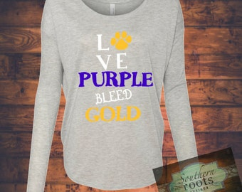 LOVE purple BLEED gold LSU Tigers inspired top!