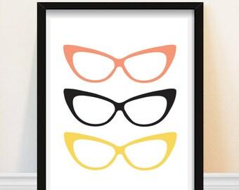 Cat Eye Glasses Art Print Pink Yellow Black Retro Wall Decor Geek Glasses Chic Fashion Art