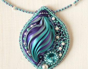 """Pendant """"Magic"""", pendant with shibori ribbon, bead embroidered pendant, bead embroidery, beaded pendant"""