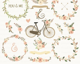 Floral Rustic Collection. Floral Wedding Collection. Rustic Flowers Clip Art. Wreaths. 19 images, 300 dpi. Eps, Png files. Instant Download.