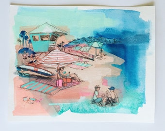 Beach Scene, Original watercolor painting. Modern art, Summery, Ocean, Colorful Beach Painting, California summer, Palm Trees, Beach Drawing