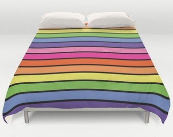 Rainbow Duvet Cover, King Queen Full Twin, Size, Colorful Bedding, Rainbow Bed Cover, Pattern Comforter
