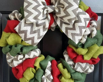Christmas Burlap Wreath, Holiday Wreath, Front Door Wreath, Red, Green and Chevron Burlap Wreath with Chevron Bow