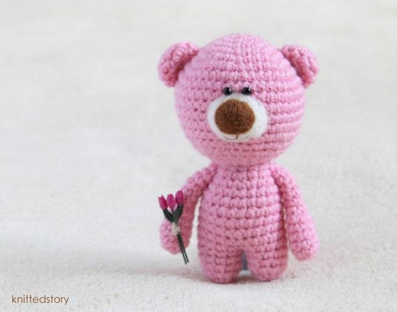 Amigurumi Pink Bear : Crochet amigurumi teddy pink bear with flowers small teddy