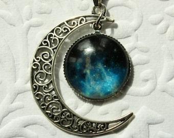 Beautiful Galaxy Nebula Crescent Moon Goddess Necklace & Pendant