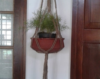 "Free shipping - 49"" Natural macrame plant hanger jute, pot holder/ Retro/vintage style hanging planter indoor/outdoor / large sized"