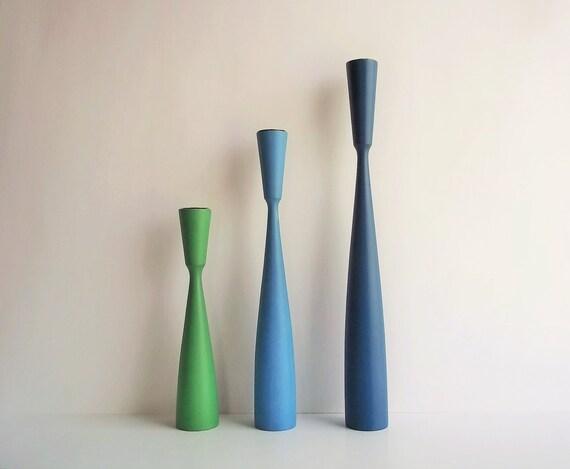 Dänische Kerzenständer Holz ~ dänische Kerzenständer Royalblau MCM blau von ThrowItForward