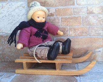 "Vintage Baby Doll ""Boy on sled"" - collectible doll - vintage doll - Boy Doll - baby doll with moveable arms and legs - Limited edition"