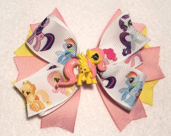 Fluttershy Hair Bow - My Little Pony - Stacked Boutique Pinwheel Bow w Fluttershy Embellishment on Partially Lined Clip