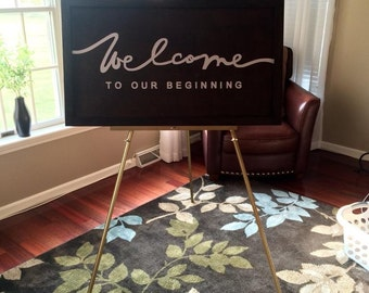 Welcome To Our Beginning Wood Sign, Wedding Ceremony & Reception Decor, Wedding Gift