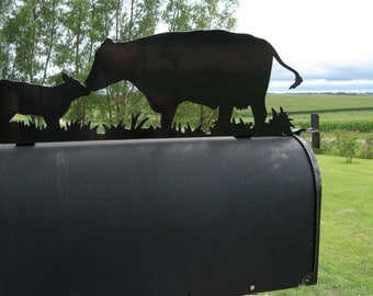 Cow and Calf Metal Mailbox Topper, Metal Cattle Mailbox Top, Ranch Mailbox Top, cow and calf pair, farm mailbox, cow mailbox, cattle farmer