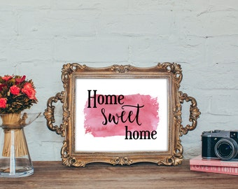 Home sweet home - Print art typography, Instant download ,Typographic Print - Blue , pink deco