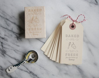 Personalized Baking Label Gift Tag - Custom Stamp - Cooking - Rubber Stamp - Homemade - Handmade - Recipe - Gift Basket - DIY - Bake Sale