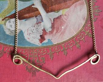 Elegant Hammered Brass Necklace