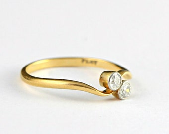 18 carat gold and platinum 2 stone diamond engagement ring for her
