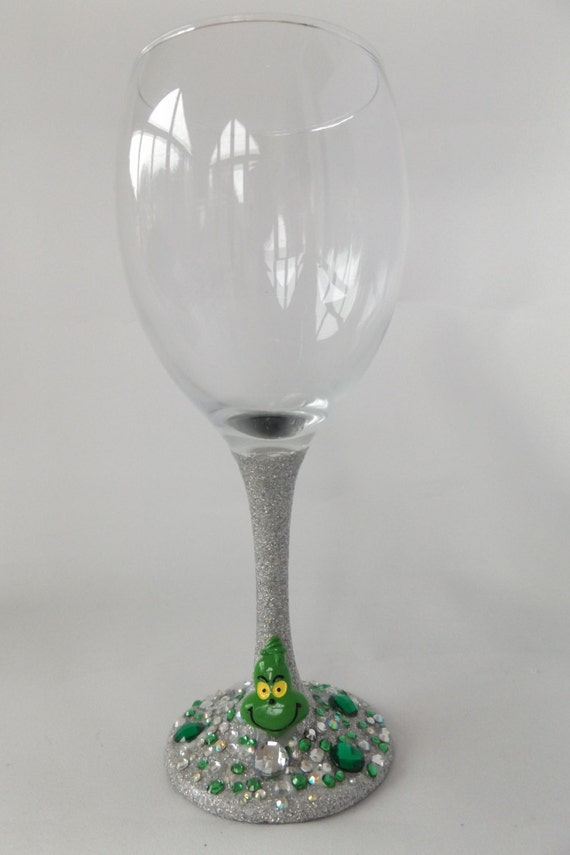 christmas grinch glitter wine glass christmas by. Black Bedroom Furniture Sets. Home Design Ideas