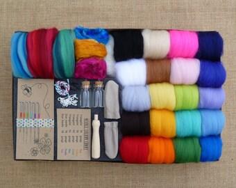 Needle felting kit -  FREE tutorial! - felting kit -rainbow felting starter kit - felting needles - animal miniatures - kawaii - merino yarn