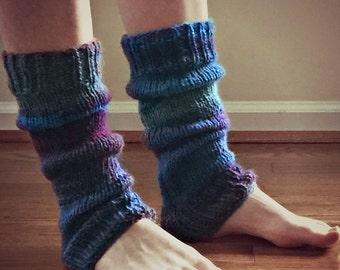 Boho Knit, Women's Leg Warmers  in Boho Blues, Fall fashion Boot Sock, Ballet Dance Leg Warmers, Handmade Item, Ombre Leg Warmers