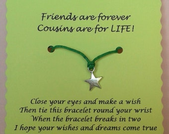 Cousin Gift, Cousin Wish Bracelet, Charm bracelet, Gift for Cousin, Cousin Bracelet, Cousins Day gift, Easter Gift, Cousin Jewellery