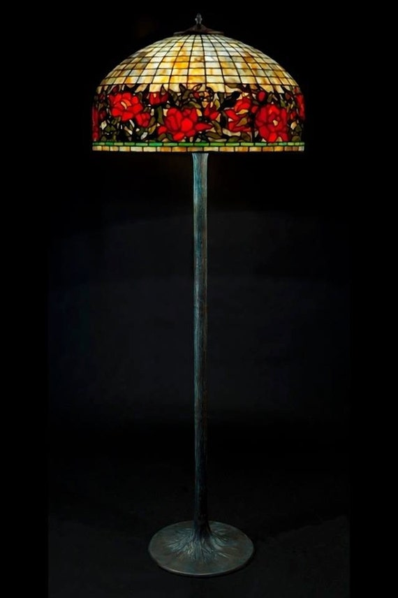 Tiffany floor lamp Border Peony. Big floor stained glass lamp. Classic Tiffany style floor lamp with decorative base.