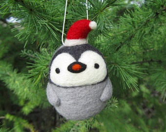 Needle Felted Penguin Ornament, Christmas Penguin, Felt Penguin, Christmas Ornament, Christmas Decoration, Baby Penguin, Christmas Gift