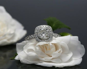 Diamond Halo Engagement Ring in 14K White Gold, 5.8mm Cushion Diamond Engagement Ring with Milgrain, Bezel Set 0.99ct Cushion Diamond