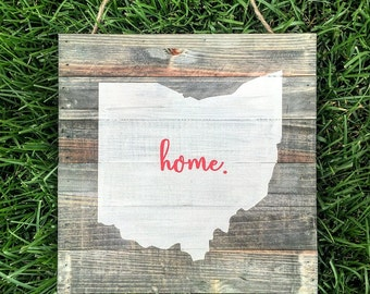 Ohio State home rustic wood plank pallet sign | Ohio State Buckeyes | Ohio State sign | Ohio sign | Ohio wood sign | Buckeyes | State sign