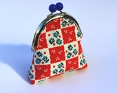 Sweet coin purse, metal frame with blue bobble, red, white and blue floral fabric and coordinating fabric lining