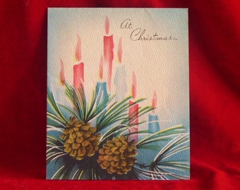 1940's Blue and Pink Candles Christmas Card by Norcross