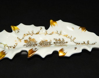 W.G. & Company...Floral White and Gilted Gold...Leaf Dish...Hand Painted...Vintage..1940..Small Dish