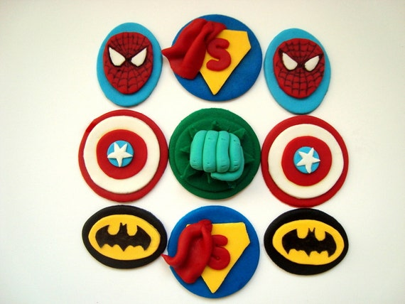 Fondant spiderman cupcake toppers - photo#11