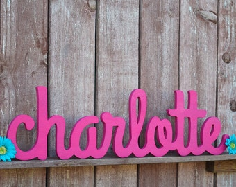 Charlotte Baby Name Sign, Wooden letters, Cursive name sign, Nursery letters, Nursery decor, Baby name plaque, Wood letters, Baby gift