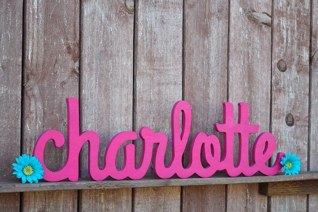 Charlotte Baby Name Sign Wooden Letters Cursive Name Sign