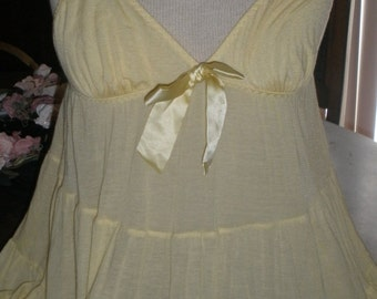 SALE Dreamy Victoria's Secret Yellow Babydoll Top Nighty Small